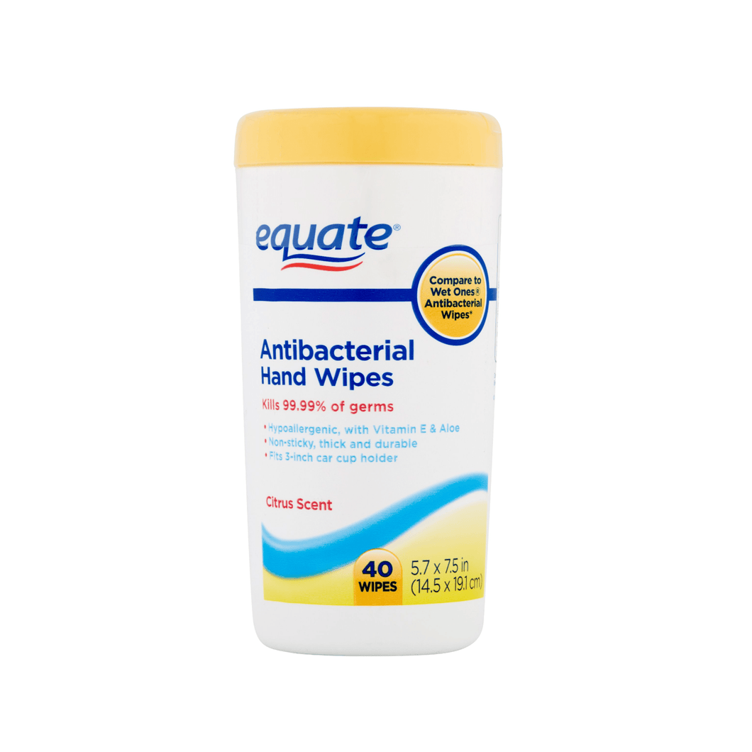 Equate Antibacterial Hand Cleaning Wipes, Citrus Scent Kills 99.9% Germs, 40 Ct - Millennial Sales