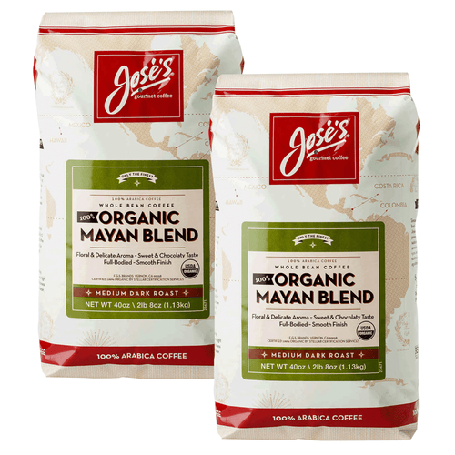 Jose's 100% Organic Natural Mayan Whole Bean Coffee 2.5 lb, 2-pack - Millennial Sales