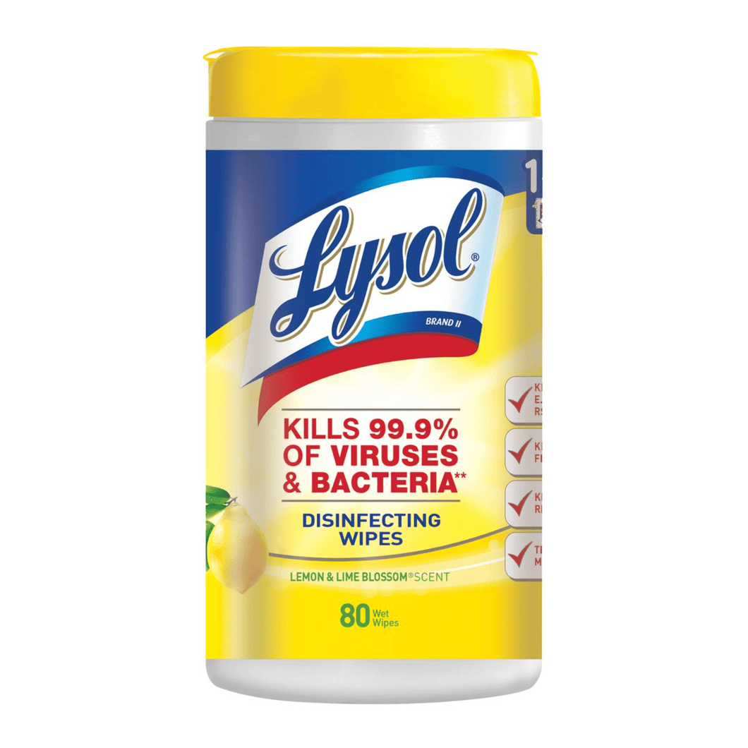 Lysol Disinfecting Wipes 80ct Lemon Scent Kills Viruses Bacteria Disinfectant - Millennial Sales