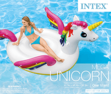 "Load image into Gallery viewer, Big Adult Size Inflatable Mega Water Float Unicorn Island Pool Floatie 113"" x 76"" x 65"" - Millennial Sales"
