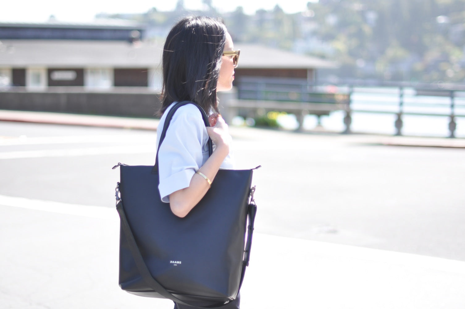 9to5Chic with leather laptop tote