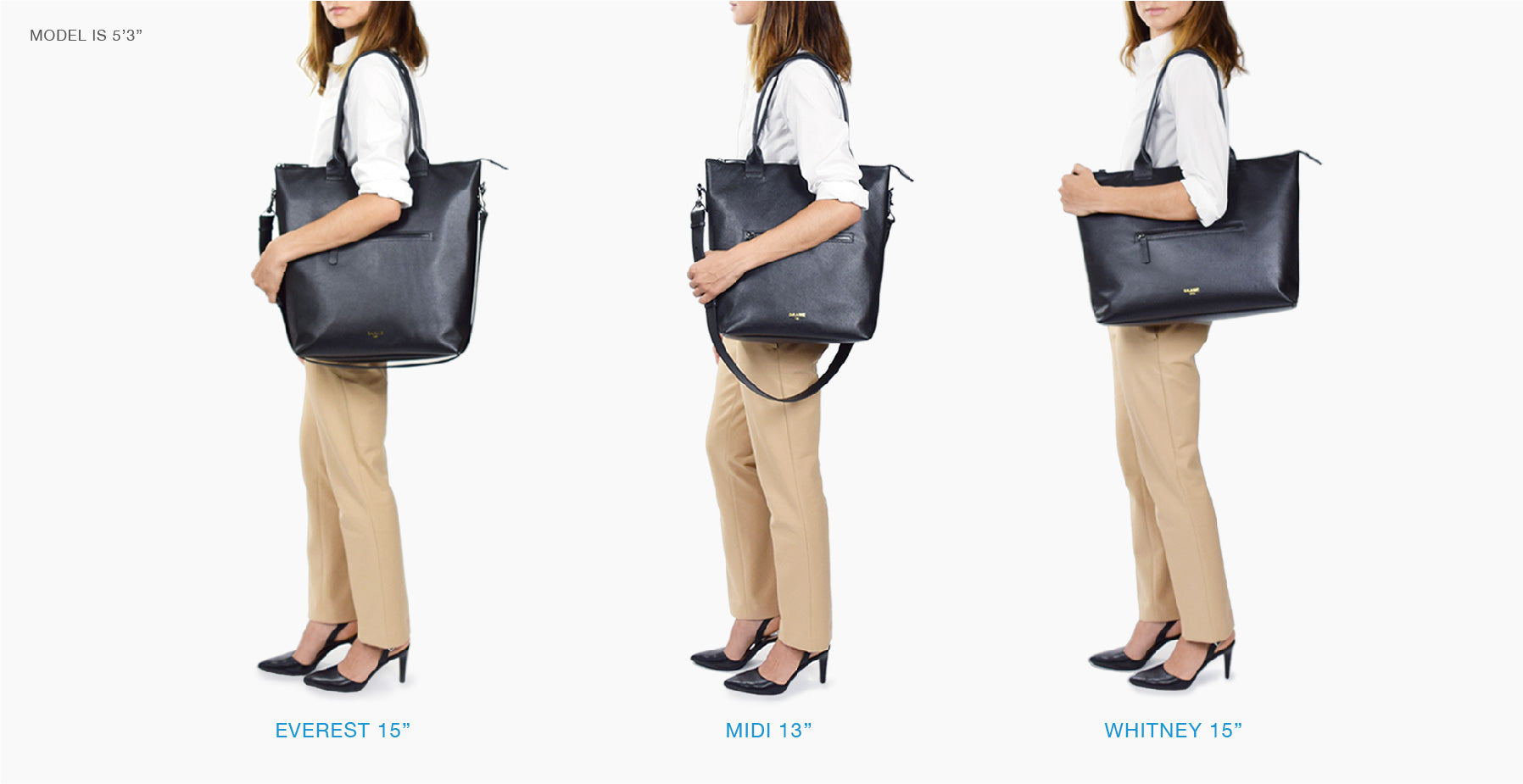 Daame laptop tote size comparison