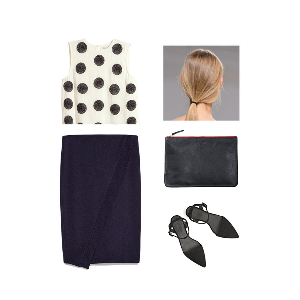 workwear with polka-dot top