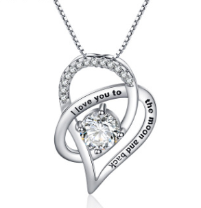 Silver Necklace Message Card Granddaughter I Love You To The Moon & Back