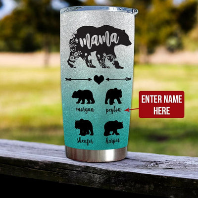 Gift For Mom Mama Bear - Tumbler - Personalized Name -