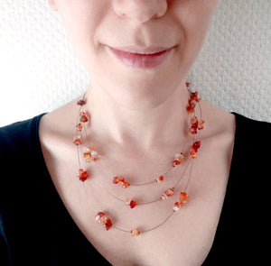 Collier multirangs en pierre naturelle - Livia - MercysFancy