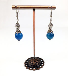 Boucles d'oreille en agate bleue - Louisa - MercysFancy
