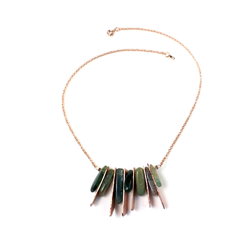 Collier en cuivre et agate mousse - Philippine   Collier Mercy's Fancy