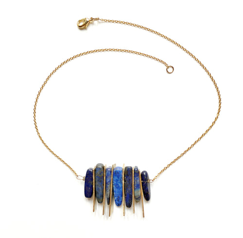 Collier en laiton et lapis lazuli - Philippine II   Collier Mercy's Fancy