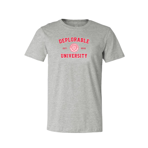 Deplorable University T Shirt Grey