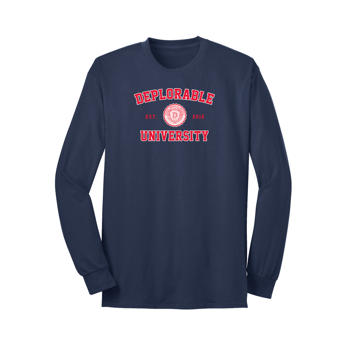Deplorable University Long Sleeve T-Shirt - Navy