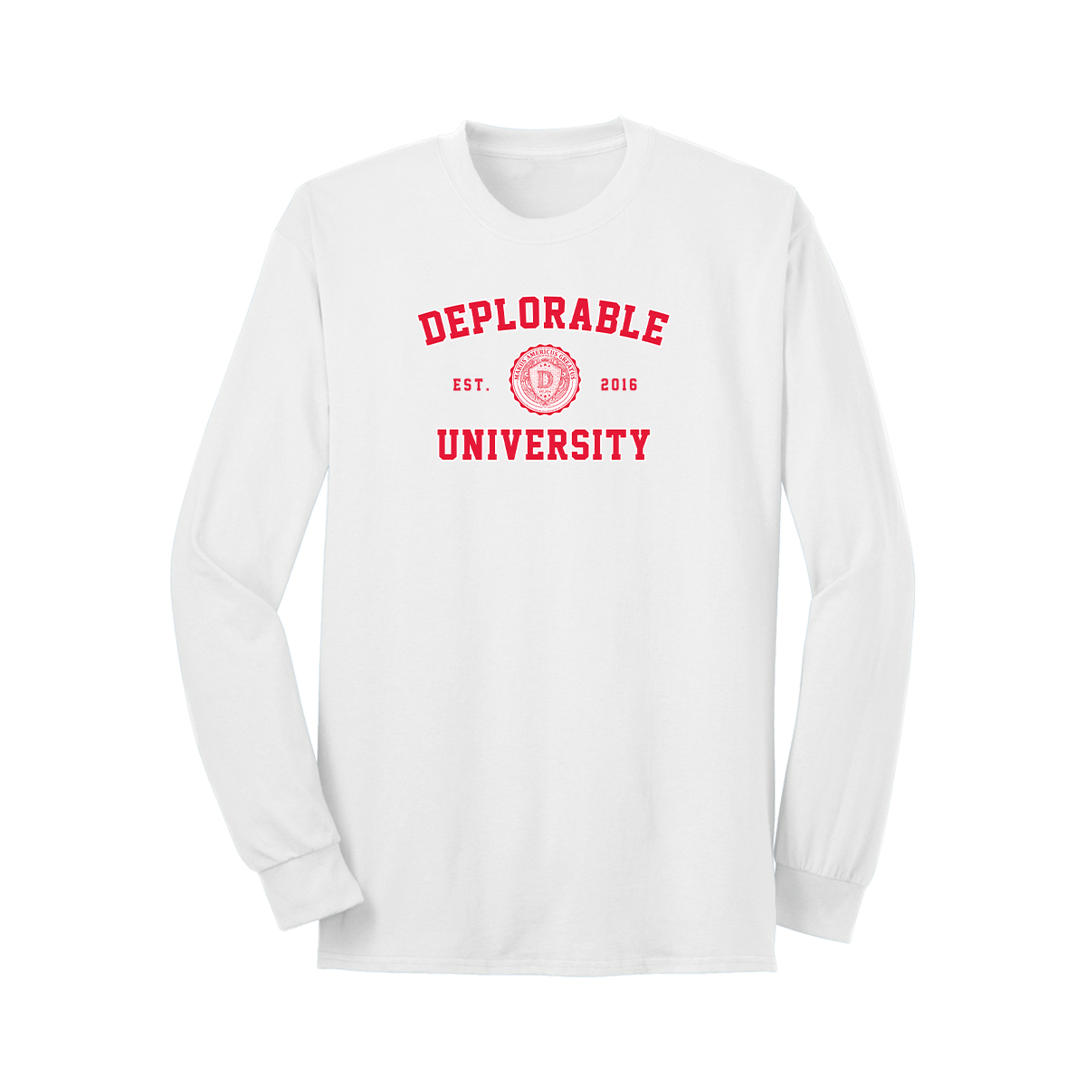 Deplorable University Long Sleeve T-Shirt - White