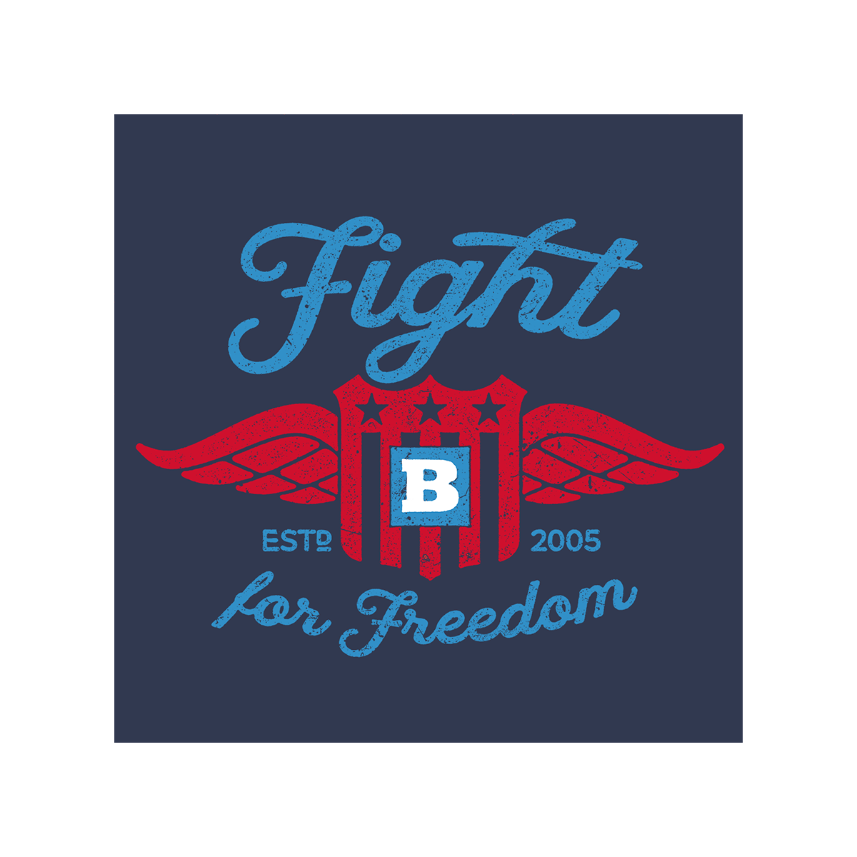 Fight For Freedom Retro Long Sleeve T-Shirt - Navy
