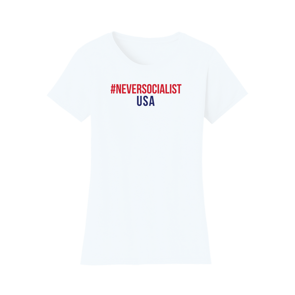 #NeverSocialist Women's USA T-Shirt - White