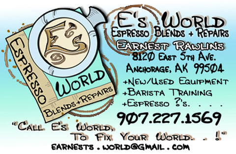 E's World Espresso Blends and Repairs Business Card