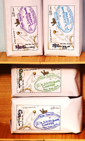 Collection of organic coffee bags