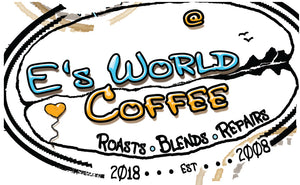 E's world Coffee Bean Logo.
