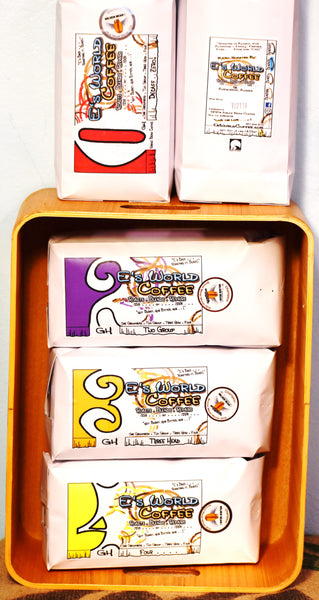 Collection of coffee blend bags