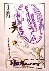 E's World Coffee #HONduras Coffee Bag Label