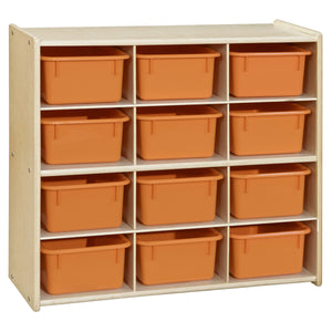 Contender Baltic Birch 12-Cubby Storage Unit with Colored Tubs