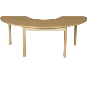 Multi-Configuration Half Circle High Pressure Laminate Table with Hardwood Legs