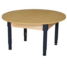 Multi-Configuration Round High Pressure Laminate Table with Hardwood Legs