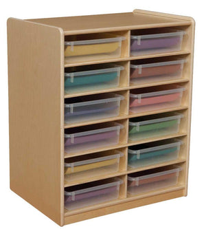 "(12) 3"" Letter Tray Storage Unit with Translucent Trays"