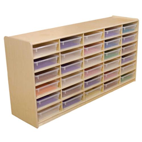 "(30) 3"" Letter Tray Storage Unit with Translucent Trays"