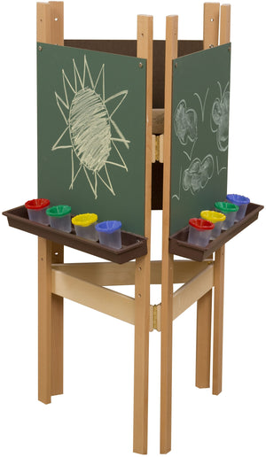 3-Sided Adjustable Easel with Chalkboard & Brown Trays