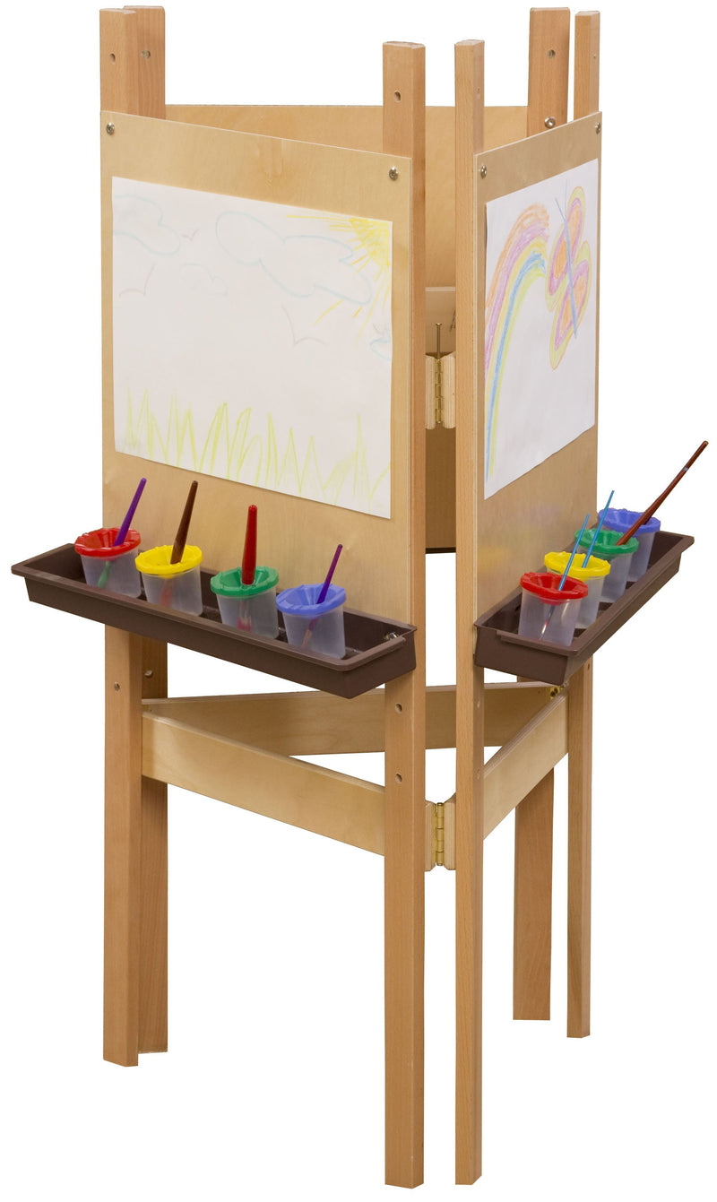 3-Sided Adjustable Easel with Plywood & Brown Trays
