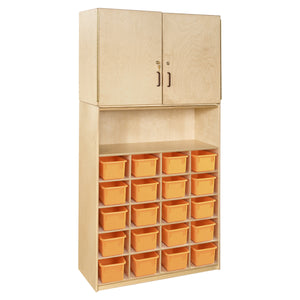 20 Tray Vertical Storage Cabinet with Colored Trays
