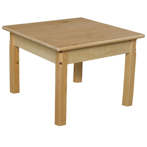"24"" Square Hardwood Table with 16"" Legs"