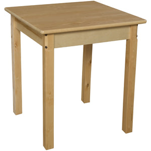 "24"" Square Hardwood Table with 26"" Legs"