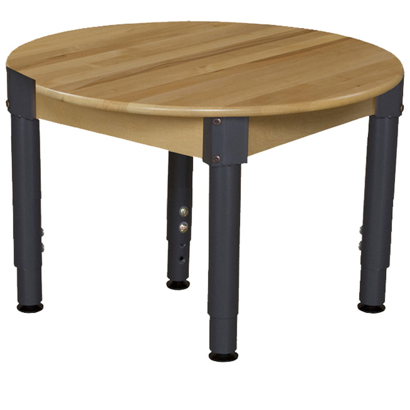 "30"" Round Hardwood Table with Adjustable Legs 12""-17"""