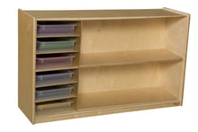 Shelf Storage with Colored Trays