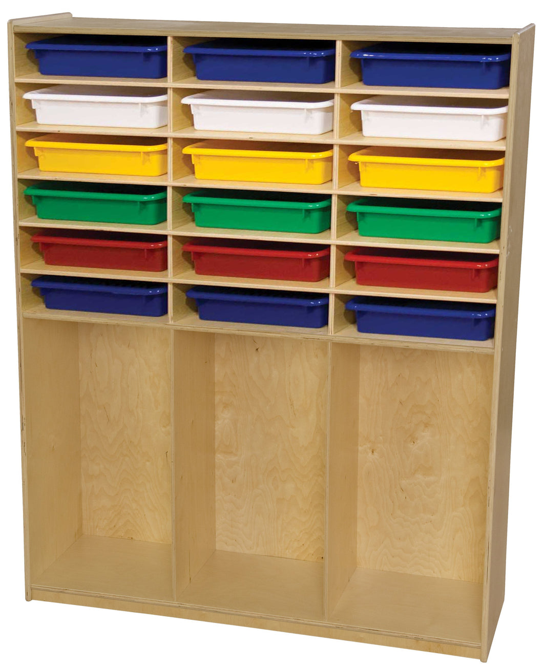 Storage Shelf with Colored Trays