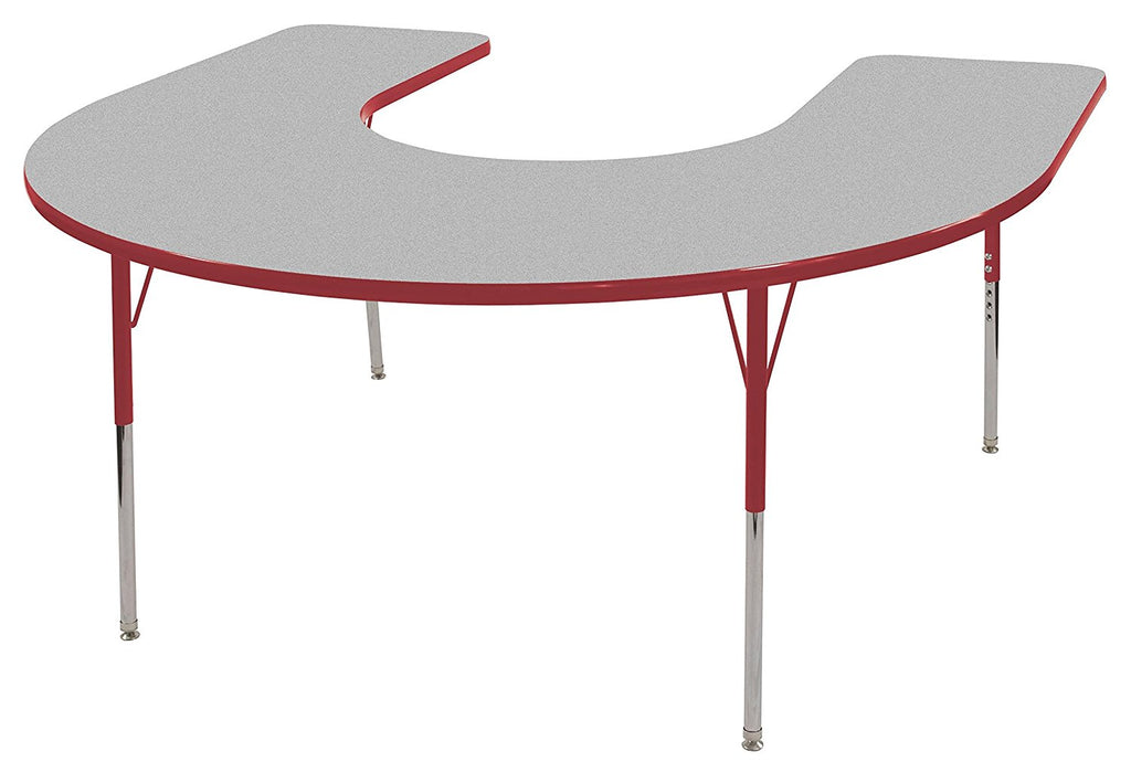 60in x 66in Horseshoe Everyday T-Mold Adjustable Activity Table Grey/Red - Standard Swivel with Seven 18in Stack Chairs Red - Swivel Glide