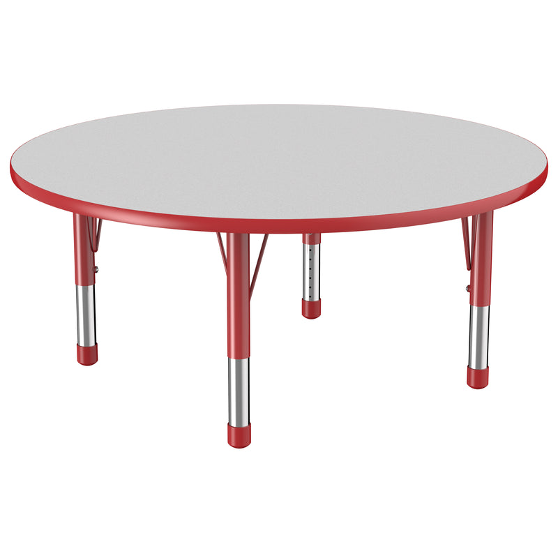 48in Round Premium Thermo-Fused Adjustable Activity Table Grey/Red/Red - Chunky Leg