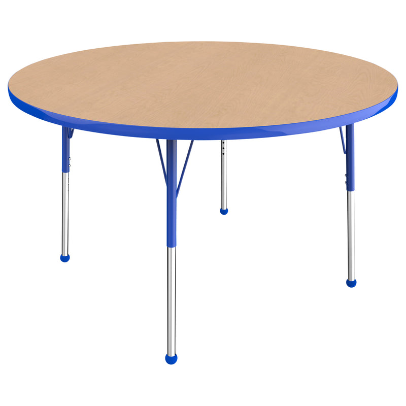 48in Round Premium Thermo-Fused Adjustable Activity Table Maple/Blue/Blue - Standard Ball