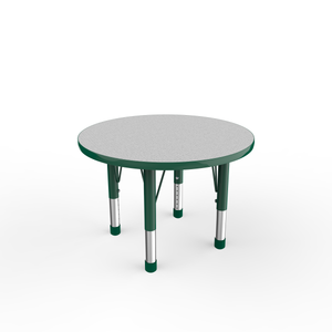 30in Round Premium Thermo-Fused Adjustable Activity Table Grey/Green/Green - Chunky Leg