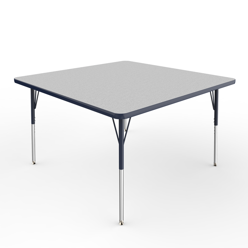 48in x 48in Square Premium Thermo-Fused Adjustable Activity Table Grey/Navy/Navy - Standard Swivel