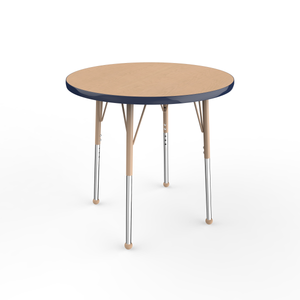 30in Round Premium Thermo-Fused Adjustable Activity Table Maple/Navy/Sand - Standard Ball