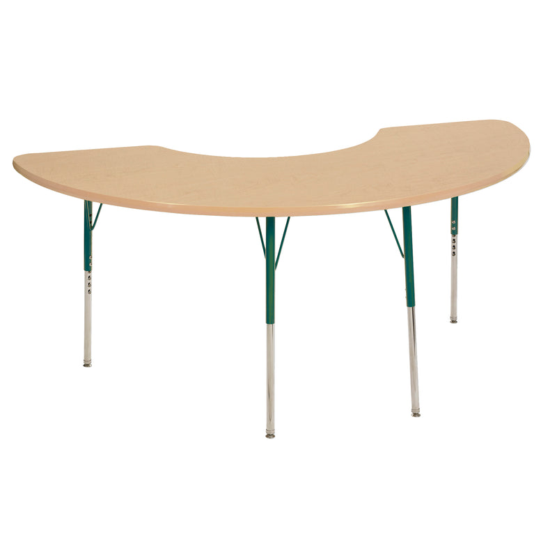 36in x 72in Half Moon Premium Thermo-Fused Adjustable Activity Table Maple/Maple/Green - Standard Swivel