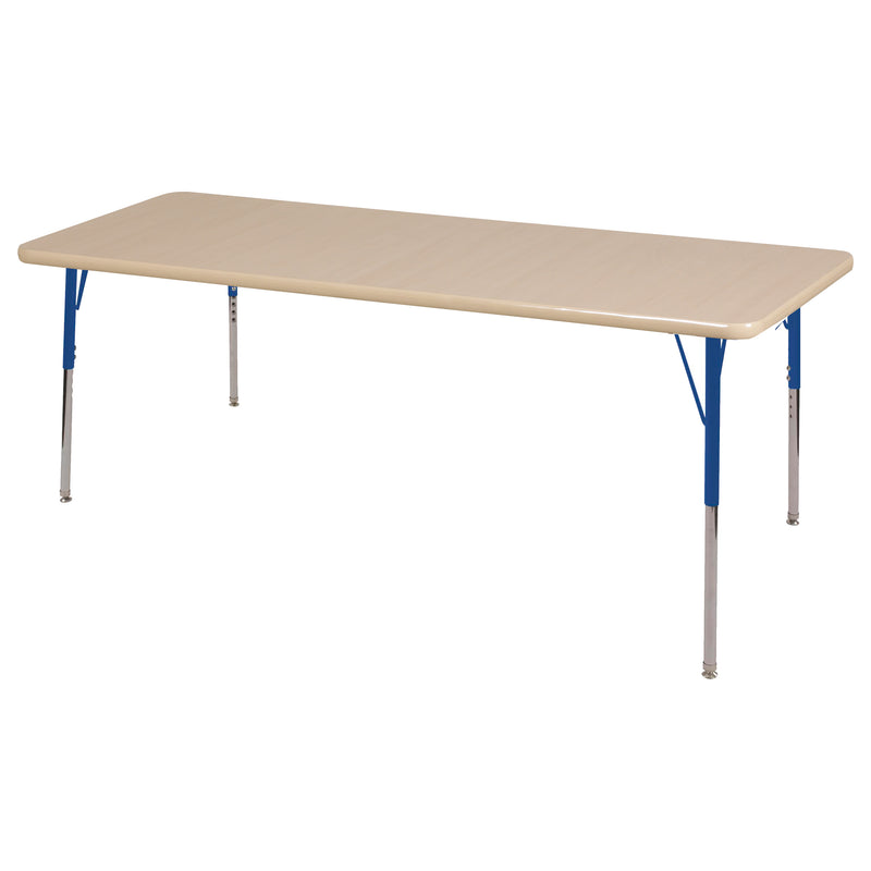 36in x 72in Rectangle Premium Thermo-Fused Adjustable Activity Table Maple/Maple/Blue - Standard Swivel