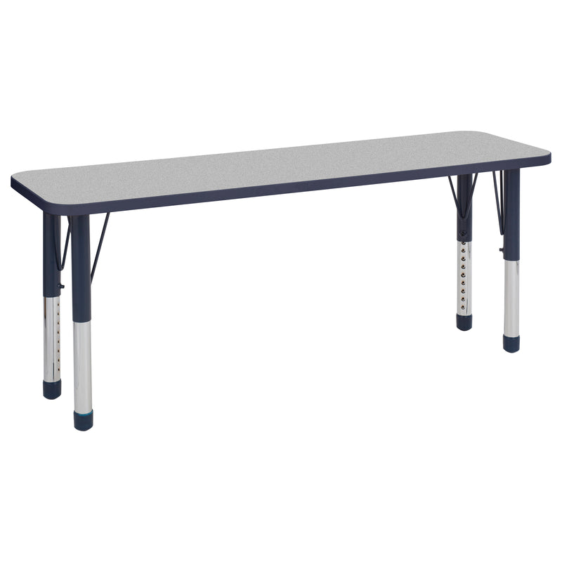 18in x 60in Rectangle Premium Thermo-Fused Adjustable Activity Table Grey/Navy/Navy - Chunky Leg