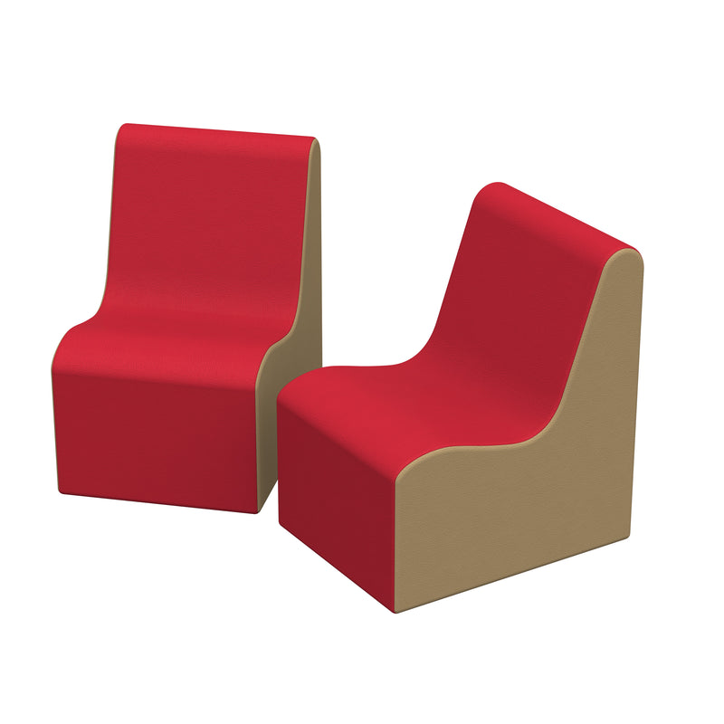 SoftZone® Wave Pre-School Chair 2-Pack - Red/Sand