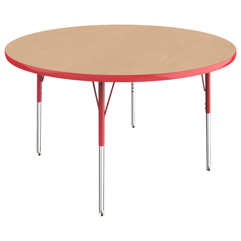 48in Round Premium Thermo-Fused Adjustable Activity Table Maple/Red/Red - Standard Swivel