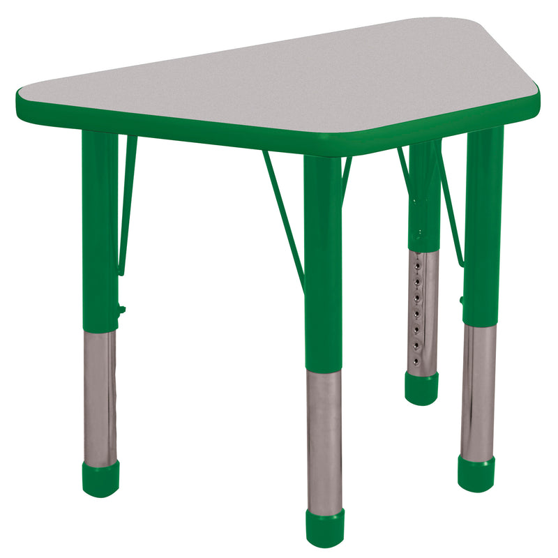 18in x 30in Trapezoid Premium Thermo-Fused Adjustable Activity Table Grey/Green/Green - Chunky Leg