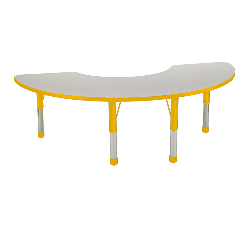 36in x 72in Half Moon Premium Thermo-Fused Adjustable Activity Table Grey/Yellow/Yellow - Chunky Leg