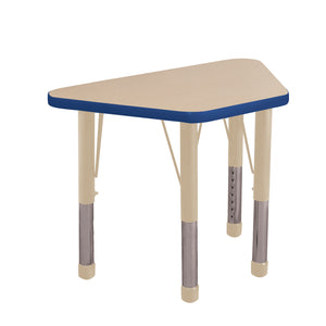18in x 30in Trapezoid Premium Thermo-Fused Adjustable Activity Table Maple/Blue/Sand - Chunky Leg